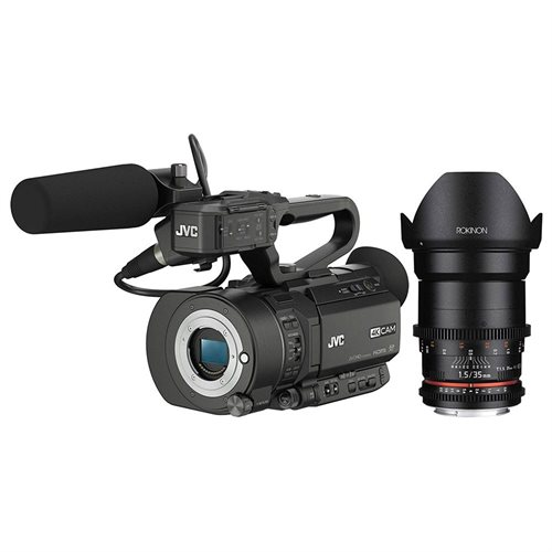 JVC GY-LS300CHU Ultra 4K HD 4KCAM Super 35 Pro Camcorder with Rokinon 35mm T/1.5 DS Cine Lens