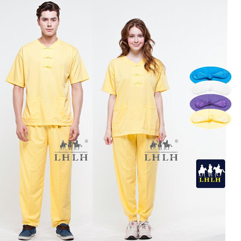 黃色 唐人裝 運動套裝 盤扣上衣 廟會服裝 短袖 女生 男生 【現貨】