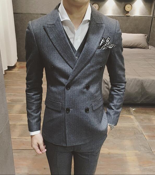 FINDSENSE品牌 韓國男 修身版型細條紋 小西裝 西裝外套 單件外套