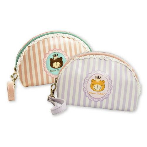 <br/><br/>  巧克力熊公主彎形化妝包(大) 粉橘/粉紫  二色可選擇<br/><br/>