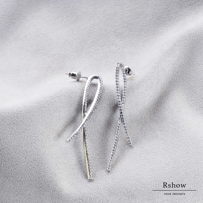 【Rshow】銀色法式絲帶 微鑲曲線 水鑽耳環 0