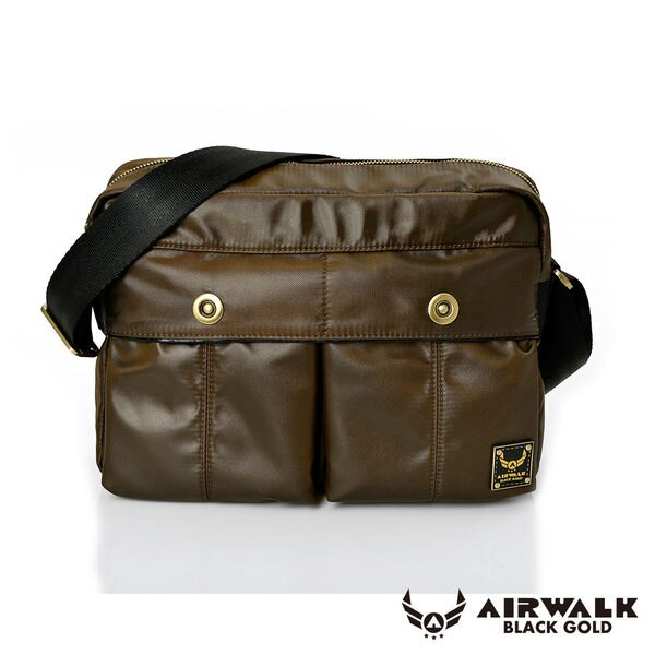 AIRWALK - 黑金系列 【禾雅】輕裝騎兵 - 經典雙前袋側肩包 - 大 - 騎士咖