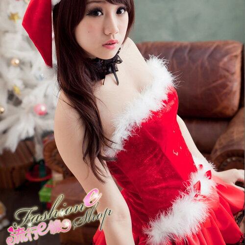露肩澎澎洋裝聖誕服~聖誕節跨年尾牙角色扮演制服派對xmas聖誕裝含聖誕帽~ E線F019
