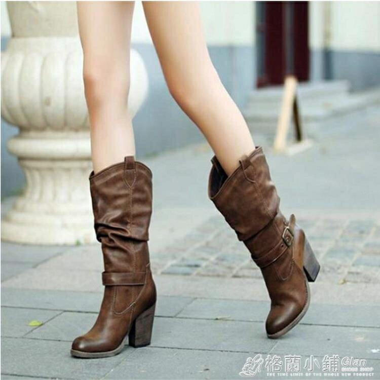11.11超值折扣 中筒靴女粗跟復古高筒女靴英倫風馬丁靴女瘦瘦高跟靴