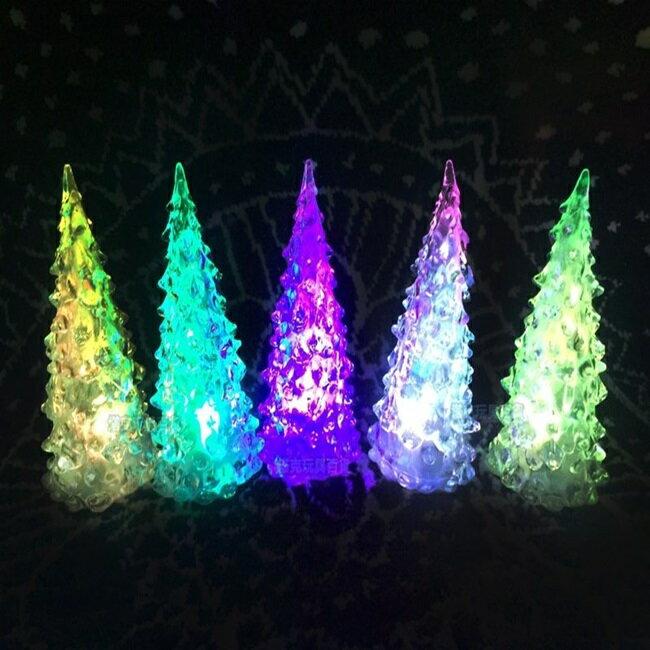 水晶聖誕樹 七彩LED 聖誕樹燈 交換禮物 LED聖誕燈 七彩聖誕燈 小夜燈 裝飾燈 聖誕佈置【塔克】