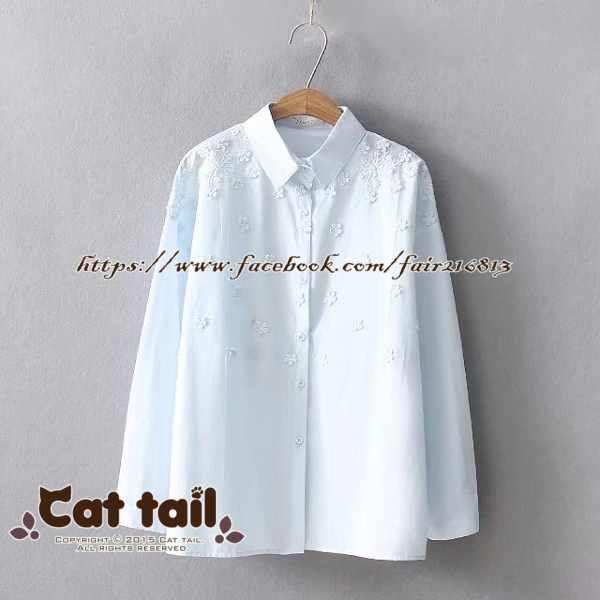 《貓尾巴》JP-01599文藝精緻刺繡長袖襯衫(森林系日系棉麻文青清新)