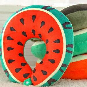 美麗大街【HB20160325A】卡通水果西瓜獼猴桃U型護頸枕辦公室午睡枕車戴枕頭