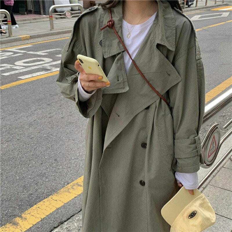 秋季2020新款韓版寬鬆復古風衣外套女中長款百