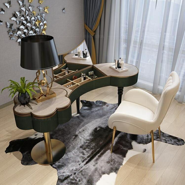 梳妝臺 輕奢梳妝臺臥室後現代簡約烤漆不銹鋼小戶型迷妳ins風化妝桌