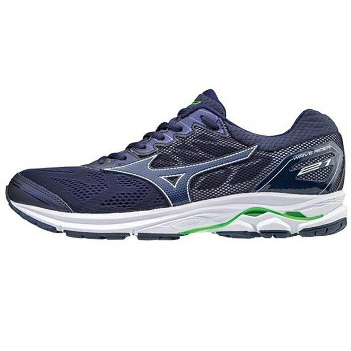 MIZUNO WAVE RIDER 21(SW) 男鞋 慢跑 超寬楦 輕量 透氣 深藍 【運動世界】J1GC180419
