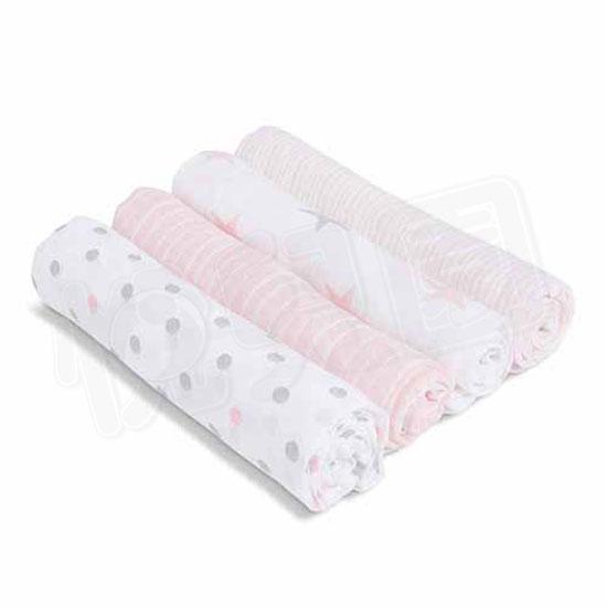 美國 aden+anais 新生兒外出包巾(4入)-粉星點系列AA-S3100【悅兒園婦幼生活館】