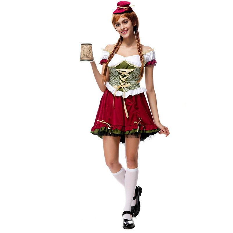 德國啤酒節萬聖節服裝酒吧女郎服務生服裝制服角色扮演halloween