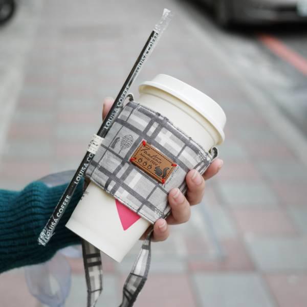 【FANTINO】雙層隔熱環保飲料提袋  杯套 杯袋 手搖杯套 咖啡杯套 ( 格紋街區) 月球灰1769941