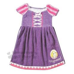 〔小禮堂〕迪士尼 長髮公主 造型擦手巾《紫.大臉.衣架掛勾.衣服型》日本丸真系列