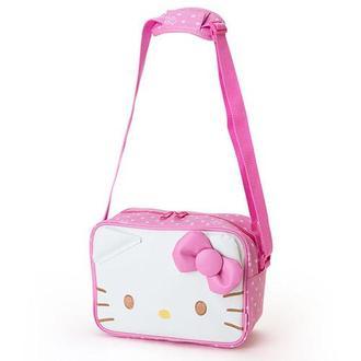 【真愛日本】15121200022 斜背包-KT大臉粉結白 美樂蒂 三麗鷗 包包 側背包 休閒包 生活用品