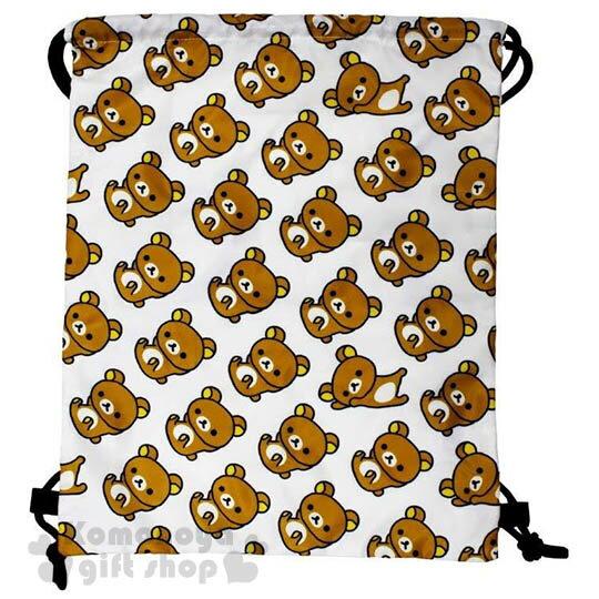 〔小禮堂〕懶懶熊 束口後背包《L.白.側趴.躺姿.滿版》可背可提