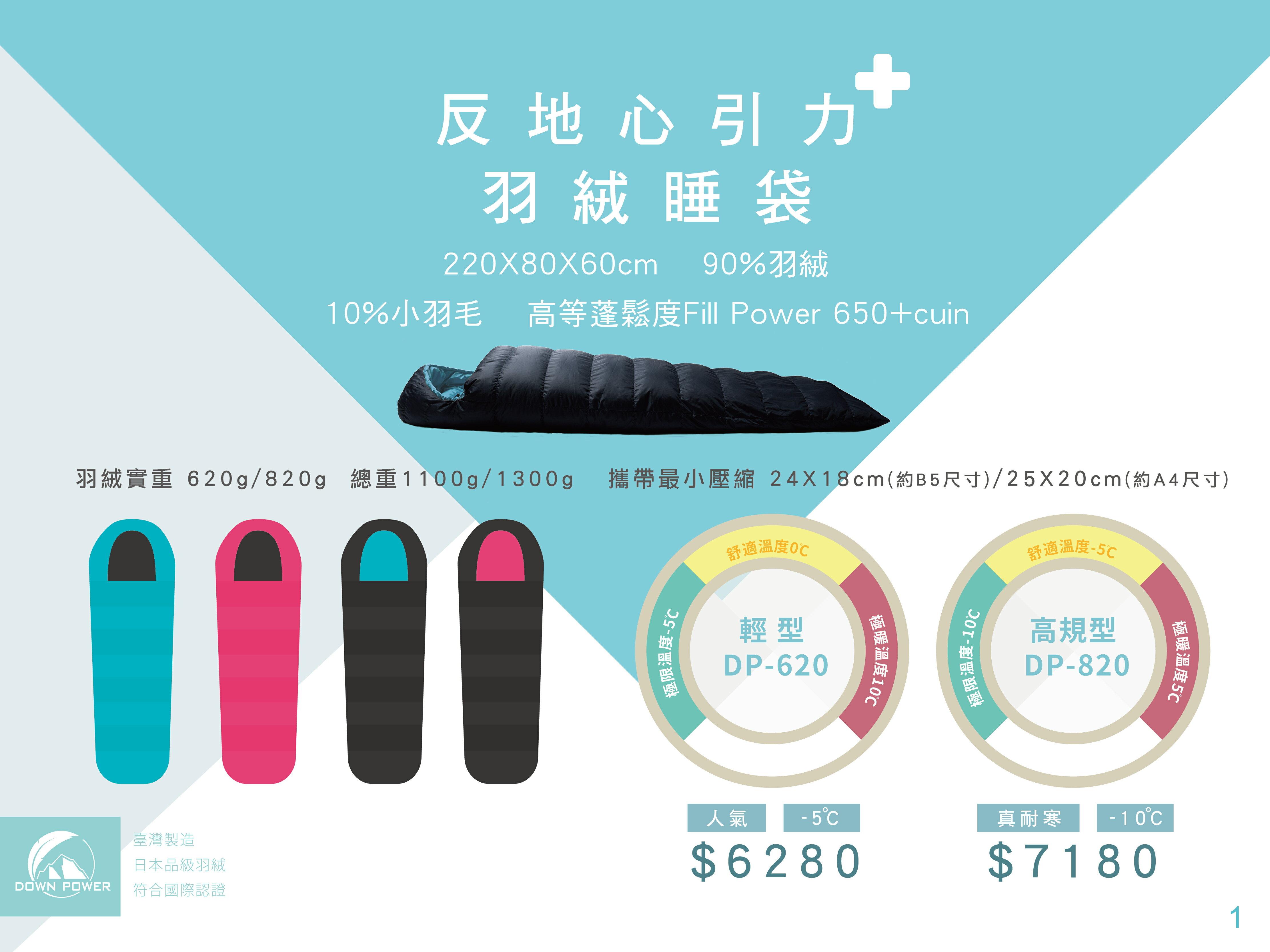 【野道家】DOWN POWER 溫感羽絨 反地心引力羽絨睡袋 DP-620(輕型)/DP-820(高規格)