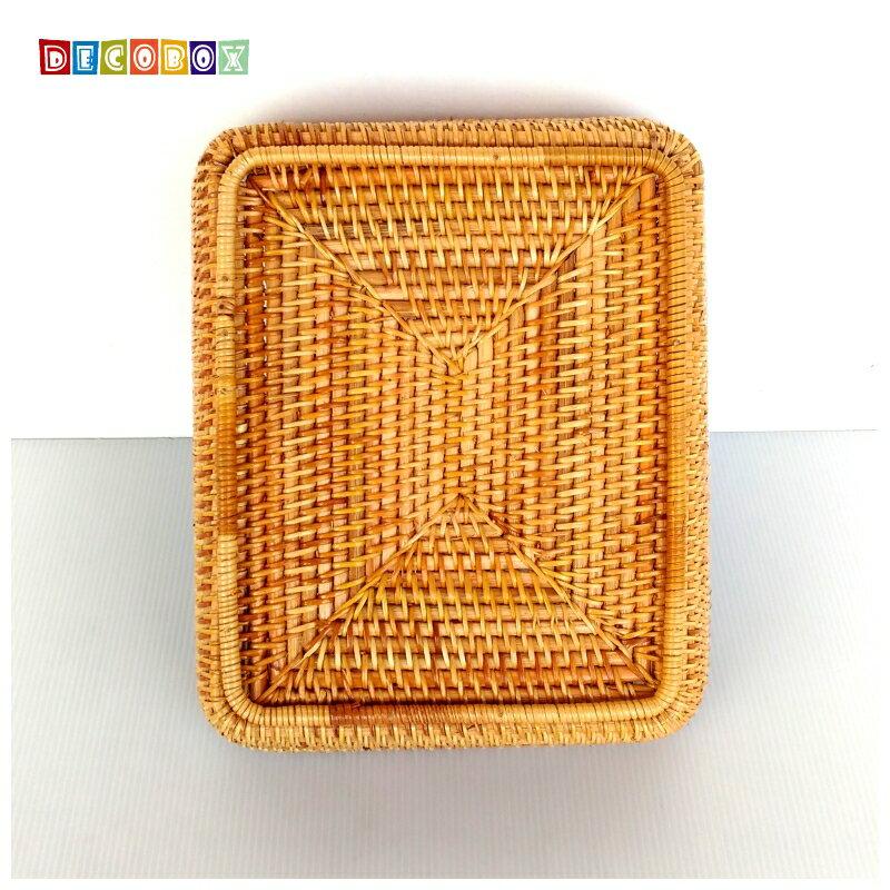 DecoBox藤編大長方茶點盤(茶道,藤編包) 3