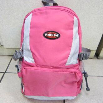 ~雪黛屋~POWERONE BAG 電腦後背包 可放小型尺吋筆電 防水尼龍布材質外出上學萬用包33-839粉紅