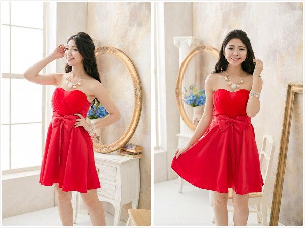 PMQueen白羽夜后洋裝禮服:PMQueen白羽夜后洋裝禮服[#12020]胸前網紗交叉緞面洋裝禮服