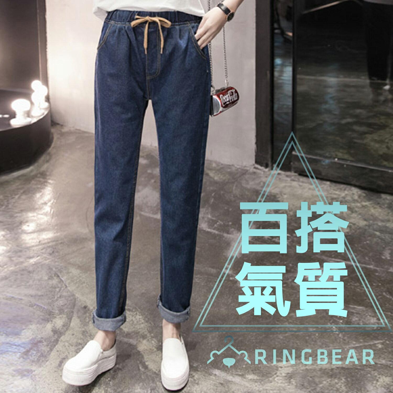 牛仔褲--簡約質感撞色抽繩寬版鬆緊帶前後雙側口袋九分丹寧褲(藍M-5L)-N73眼圈熊中大尺碼 0