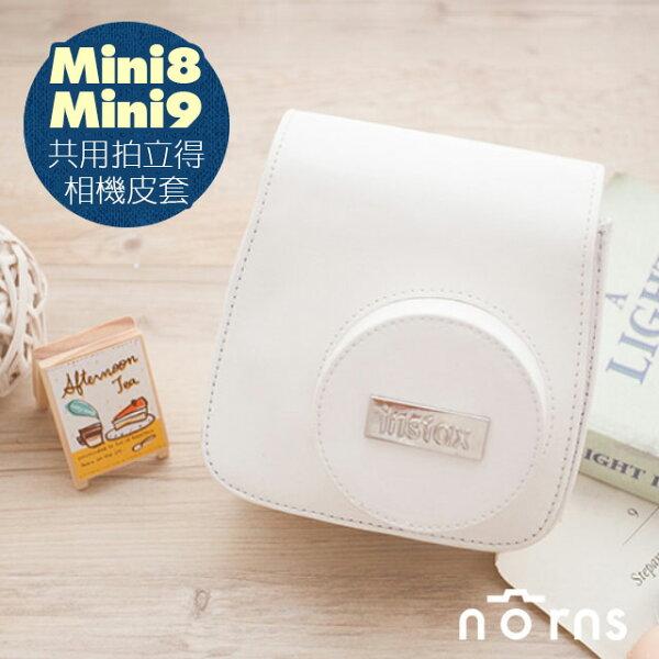 Norns:NORNS,【Mini8Mini9富士原廠銀標皮套-白色】相機包附背帶另售水晶殼