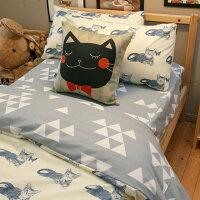 居家生活床包 被套 兩用被  單人床包組/雙人床包組  台灣製造 棉床本舖 [ Blue cat 藍貓【床包藍底白三角形】 ] 好窩生活節。就在棉床本舖Annahome居家生活