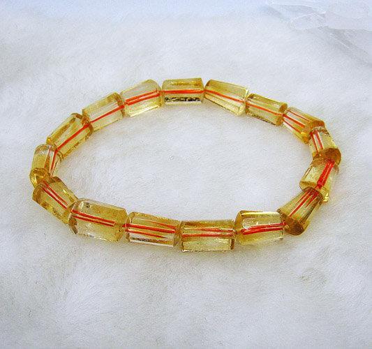 水晶黃水晶手鏈12mm-8mm柱形超酷