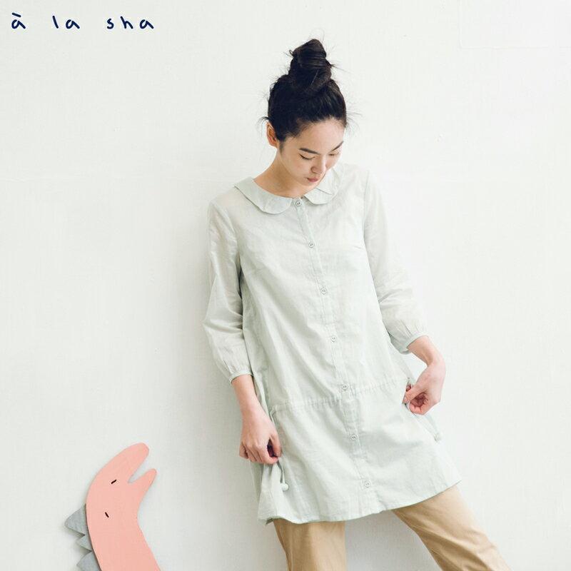 a la sha Qummi 抽摺綁帶開襟兩件式長版襯衫(附吊帶背心)