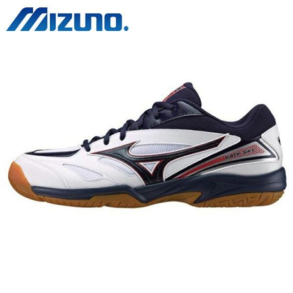 MIZUNOGATESKY男鞋女鞋排球羽球休閒輕量舒適耐磨透氣藍白黑【運動世界】71GA174015