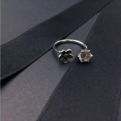~925純銀戒指鑲鑽銀飾~ 閃耀花朵生日情人節 女飾品73ic23~ ~~米蘭 ~