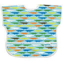 【淘氣寶寶】【美國Bumkins】兒童(1-3歲)短袖防水圍兜-可愛鱷魚 BKU-680【保證公司貨】