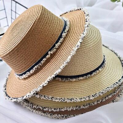 草帽防曬遮陽平頂帽-個性毛邊時尚有型母親節情人節生日禮物女帽子5色73rp141【獨家進口】【米蘭精品】