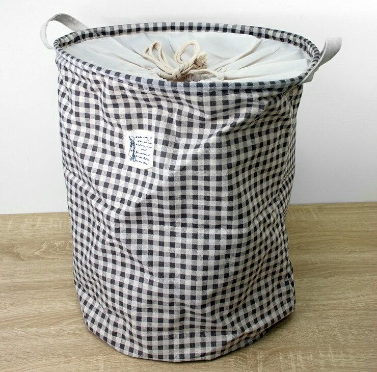 【凱樂絲】圓形塑膠材質咖啡色格子收納籃/洗衣籃, 可束口防塵超好用,附把手好取好拿