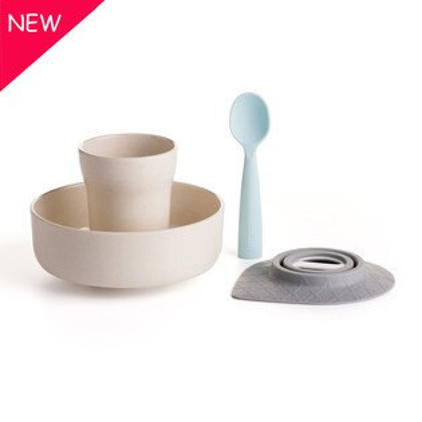 NANABABY:【舊金山設計品牌Miniware】天然寶貝碗點心時光組-牛奶+薄荷#MWSBSCPSSS11NBM