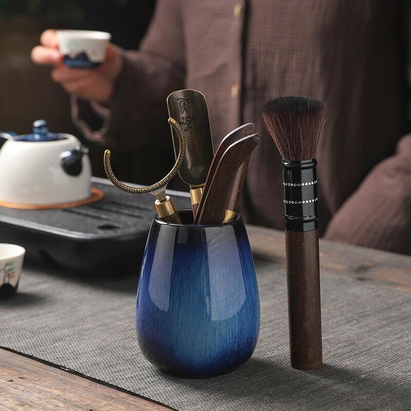 藍菲天目釉茶道六君子 家用黑檀茶夾茶針茶勺杯叉養壺筆茶藝配件
