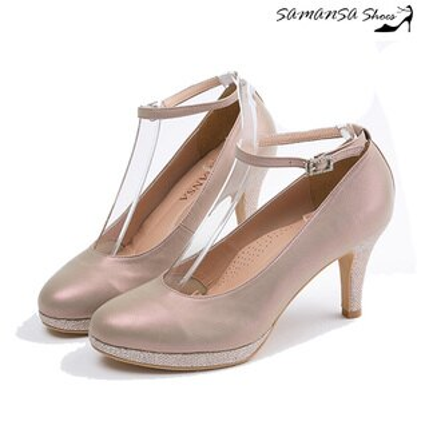 samansa莎曼莎手工鞋:[SAMANSA]焦點星光閃閃三穿式防水台炫亮高跟鞋#14403炫彩玫瑰金