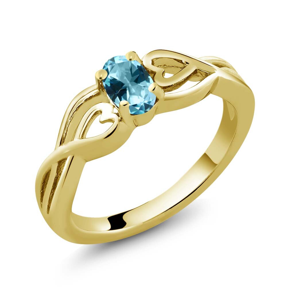 18K Yellow Gold Plated Silver Solitaire Ring Set with Ice Blue Topaz from Swarovski 0