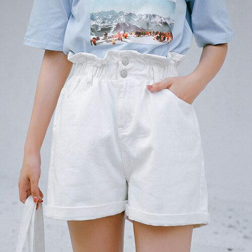 鬆緊腰闊腿牛仔短褲(4色S~XL)【OREAD】