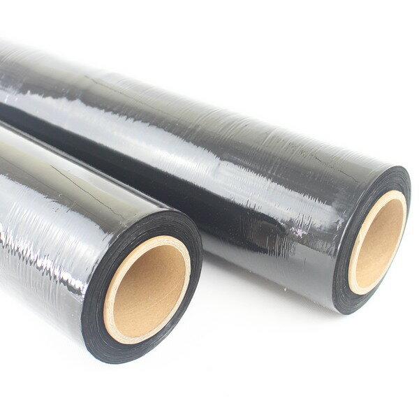 黑色棧板膜 PE工業伸縮膜 (50cmX500M 厚17u)PE膜 防撞膠膜/一箱2捲入{促850)線性聚乙烯膜 工業保鮮膜 包裝束膜 收縮膜 防塵膠膜