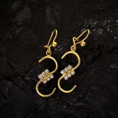 ~純銀耳環鍍18K金鑲鑽耳飾~ 氣質 七夕情人節 女飾品73cx66~ ~~米蘭 ~