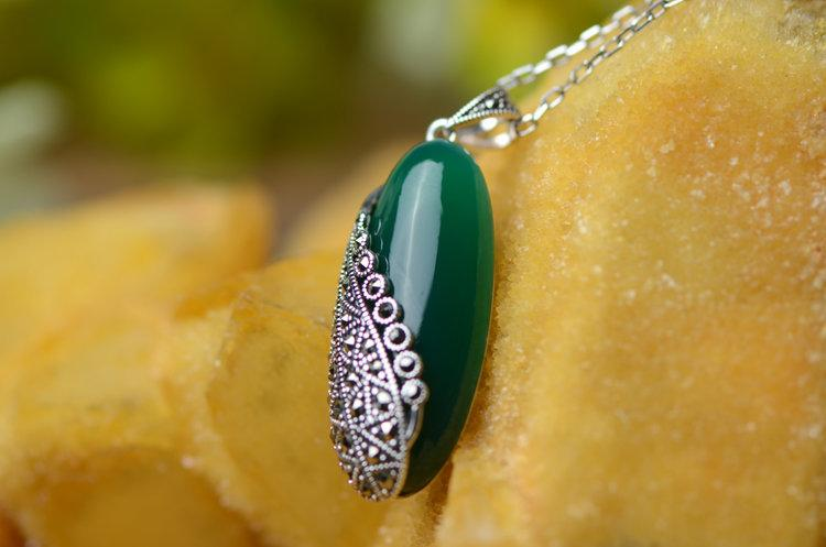 銀飾銀吊墜 複古綠瑪瑙項鏈墜子 時尚手工銀飾