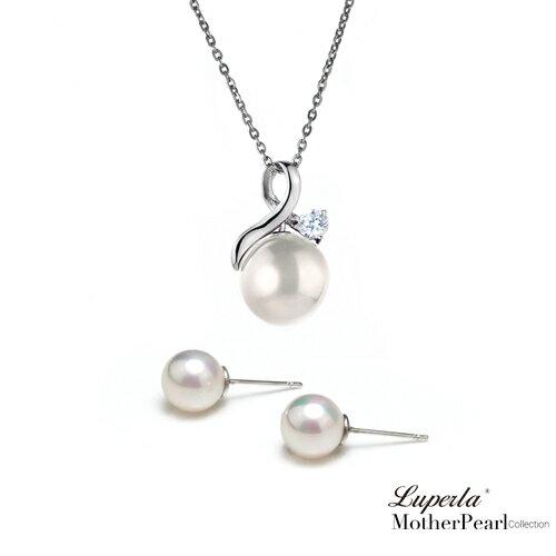大東山珠寶 歐巴馬璀璨鑲鑽貝珠項鍊耳環套組 0