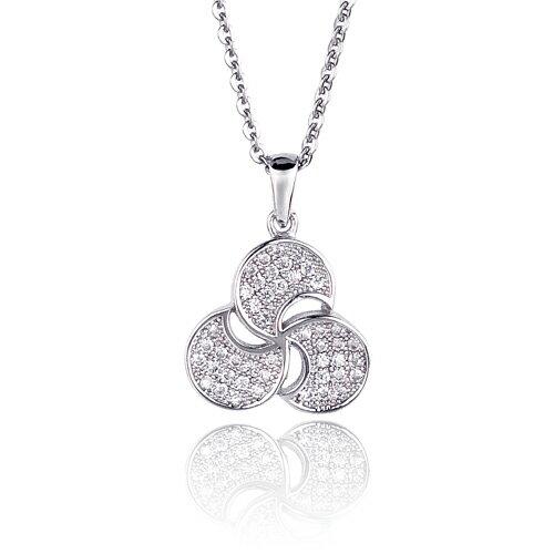 大東山珠寶 三葉草 璀璨晶鑽純銀項鍊
