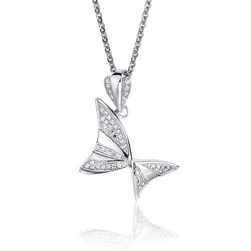 大東山珠寶 小蝴蝶純銀晶鑽項鍊