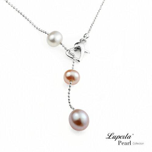 濃情心型扣天然淡水珍珠項鍊