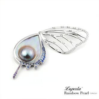 大東山珠寶 頂級彩虹珍珠晶璨寶石胸針 綺麗蝶漾