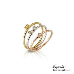 大東山珠寶 心星相映的幸福 三色金純銀晶鑽戒指 多層次穿戴套戒