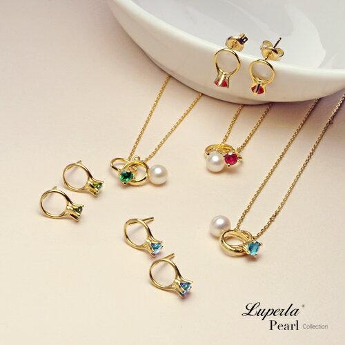大東山珠寶 頸間的悸動 湖水藍珍珠純銀項鍊耳環套組 1