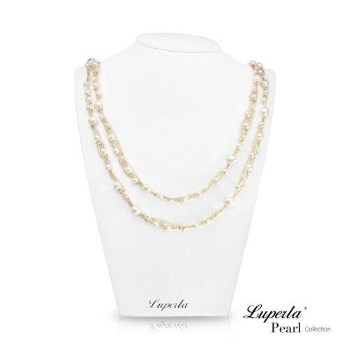 大東山珠寶 華麗金編多層次珍珠項鍊耳環套組
